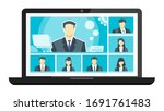7 panels online virtual remote... | Shutterstock .eps vector #1691761483