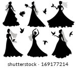 Set Of Silhouettes Of Brides...