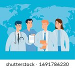 group of doctor with world map... | Shutterstock .eps vector #1691786230