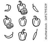 chili and pepper set.... | Shutterstock .eps vector #1691795329