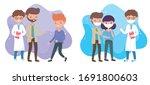 health online  doctor and sick... | Shutterstock .eps vector #1691800603