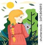 childhood painting girl pet...   Shutterstock . vector #1691804893