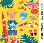 summer beach vacation design...   Shutterstock . vector #1691806216