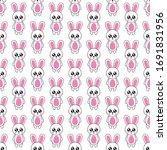 seamless pattern cute rabbit...   Shutterstock .eps vector #1691831956