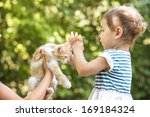 Stock photo girl play with kitten 169184324