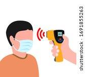 doctor holding a non contact...   Shutterstock .eps vector #1691855263