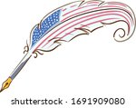Illustration Of A Quill Pen...