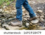 Hiker's Shoe While Crossing A...