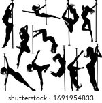 a set of women pole dancing... | Shutterstock .eps vector #1691954833