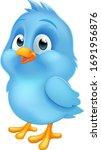 a cute bluebird blue baby bird... | Shutterstock .eps vector #1691956876