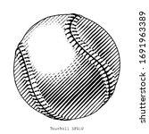 baseball hand draw vinatge... | Shutterstock .eps vector #1691963389