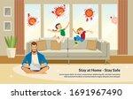flat banner illustration stay... | Shutterstock .eps vector #1691967490
