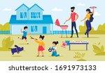 happy family and kid having bbq ... | Shutterstock .eps vector #1691973133