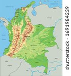 high detailed colombia physical ... | Shutterstock .eps vector #1691984239