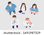 top view of happy doctors and... | Shutterstock .eps vector #1691987329