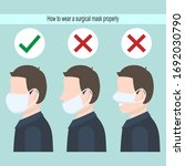 how to wear a surgical mask...   Shutterstock .eps vector #1692030790
