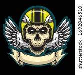 skull helmet with banner and...   Shutterstock .eps vector #1692046510