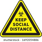 social distancing signage or... | Shutterstock .eps vector #1692054886