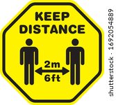 social distancing signage or... | Shutterstock .eps vector #1692054889