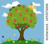 Apple Tree With A Bird On The...