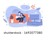 a couple watching 3d movies on... | Shutterstock .eps vector #1692077380