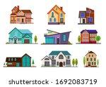 modern cottage houses set.... | Shutterstock . vector #1692083719