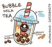 bubble milk tea hand drawn.... | Shutterstock .eps vector #1692084079