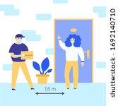 concept for safe delivery... | Shutterstock .eps vector #1692140710