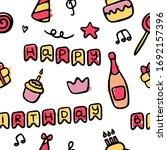 hand drawn birthday icon set....   Shutterstock .eps vector #1692157396
