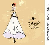 fashion bride on a vintage old... | Shutterstock .eps vector #169225328