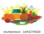 dessert background fruits tea...   Shutterstock . vector #1692274030