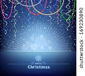 the christmas blue card with...   Shutterstock . vector #169230890