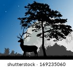 illustration with pine and deer ... | Shutterstock .eps vector #169235060
