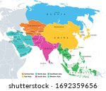 main regions of asia. political ... | Shutterstock .eps vector #1692359656