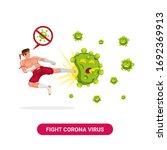 muay thai fighter flying kick... | Shutterstock .eps vector #1692369913