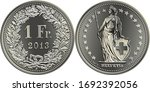 1 Swiss franc coin, reverse 1 Fr in wreath of oak leaves and gentian, obverse Helvetia shown standing and stars, official coin in Switzerland