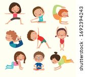 variety of yoga kids  yoga... | Shutterstock .eps vector #1692394243