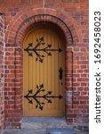 Wooden Plank Street Door With...