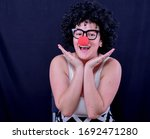 Woman With Mime Red Nose ...