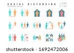 simple set of social distancing ... | Shutterstock .eps vector #1692472006