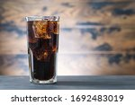 Full Glass Drink Cola With Ice...