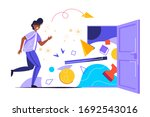 young shocked man clutching his ... | Shutterstock .eps vector #1692543016
