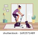 woman riding stationary bike... | Shutterstock .eps vector #1692571489