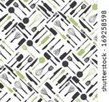 kitchen tools pattern design.... | Shutterstock .eps vector #169258598