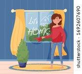 lettering let's stay home. girl ... | Shutterstock .eps vector #1692607690