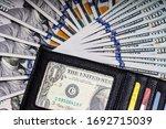 fan of 100 dollars bills and...   Shutterstock . vector #1692715039