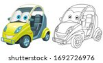 cute mini car with emoji face.... | Shutterstock .eps vector #1692726976