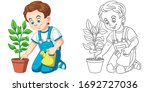cute boy taking care of a plant.... | Shutterstock .eps vector #1692727036