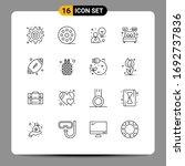 pictogram set of 16 simple... | Shutterstock .eps vector #1692737836