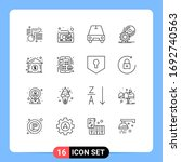 set of 16 vector outlines on...